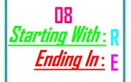 Eight letter words starting with R and ending in E