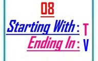 Eight letter words starting with T and ending in V