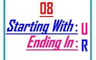 Eight letter words starting with U and ending in R