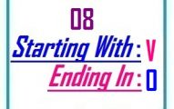 Eight letter words starting with V and ending in O