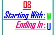 Eight letter words starting with W and ending in U