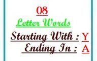 Eight letter words starting with Y and ending in A