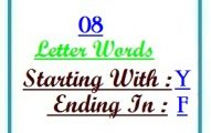 Eight letter words starting with Y and ending in F
