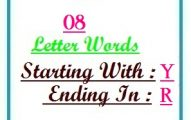 Eight letter words starting with Y and ending in R