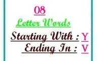 Eight letter words starting with Y and ending in V
