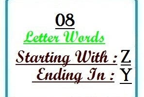 Eight letter words starting with Z and ending in Y