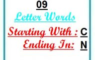 Nine letter words starting with C and ending in N
