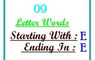 Nine letter words starting with E and ending in E