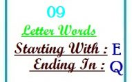 Nine letter words starting with E and ending in Q