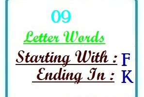 Nine letter words starting with F and ending in K