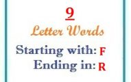 Nine letter words starting with F and ending in R