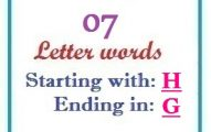 Seven letter words starting with H and ending in G