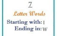Seven letter words starting with I and ending in W