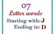 Seven letter words starting with J and ending in D