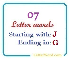 Seven letter words starting with J and ending in G