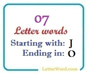 Seven letter words starting with J and ending in O