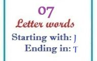 Seven letter words starting with J and ending in T