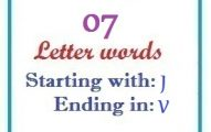 Seven letter words starting with J and ending in V