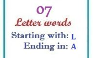 Seven letter words starting with L and ending in A