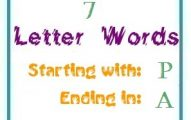 Seven letter words starting with P and ending in A