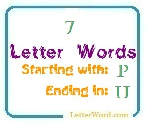 seven letter words starting with p and ending in u letters in word