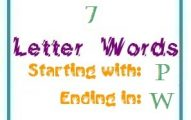 Seven letter words starting with P and ending in W