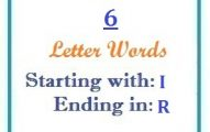 Six letter words starting with I and ending in R