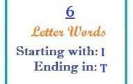 Six letter words starting with I and ending in T