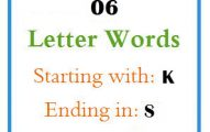 Six letter words starting with K and ending in S