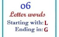 Six letter words starting with L and ending in G