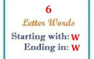 Six letter words starting with W and ending in W