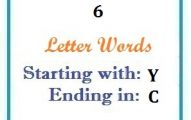 Six letter words starting with Y and ending in C