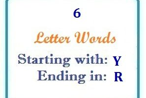 Six letter words starting with Y and ending in R