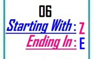 Six letter words starting with Z and ending in E