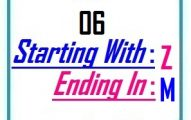 Six letter words starting with Z and ending in M