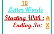 Ten letter words starting with A and ending in X