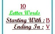 Ten letter words starting with B and ending in V