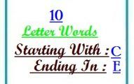 Ten letter words starting with C and ending in E