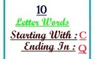 Ten letter words starting with C and ending in Q
