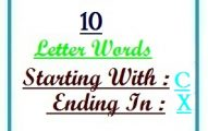 Ten letter words starting with C and ending in X