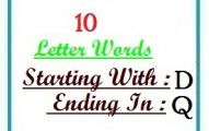 Ten letter words starting with D and ending in Q