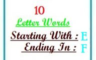 Ten letter words starting with E and ending in F