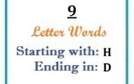 Nine letter words starting with H and ending in D