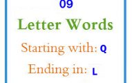 Nine letter words starting with Q and ending in L