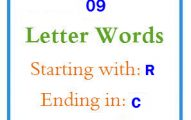 Nine letter words starting with R and ending in C