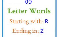 Nine letter words starting with R and ending in Z