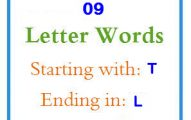 Nine letter words starting with T and ending in L