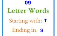 Nine letter words starting with T and ending in S