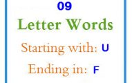 Nine letter words starting with U and ending in F