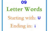Nine letter words starting with U and ending in I